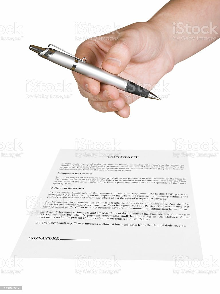 Hand giving pen and contract royalty-free stock photo