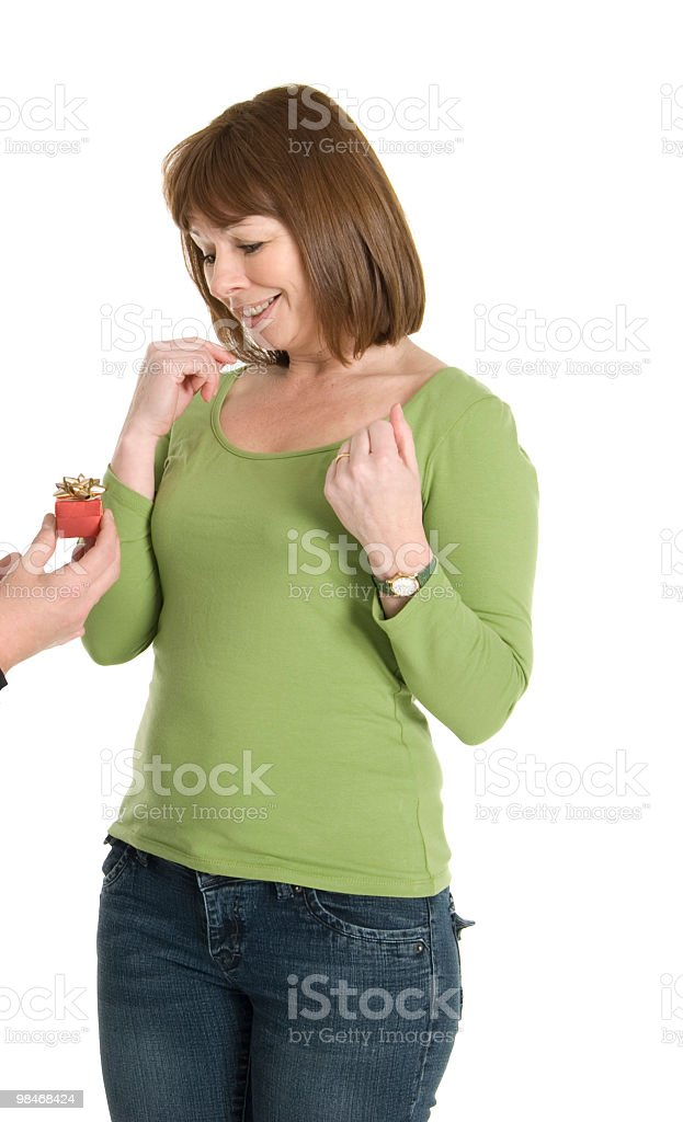 Hand Giving Present to Woman royalty-free stock photo
