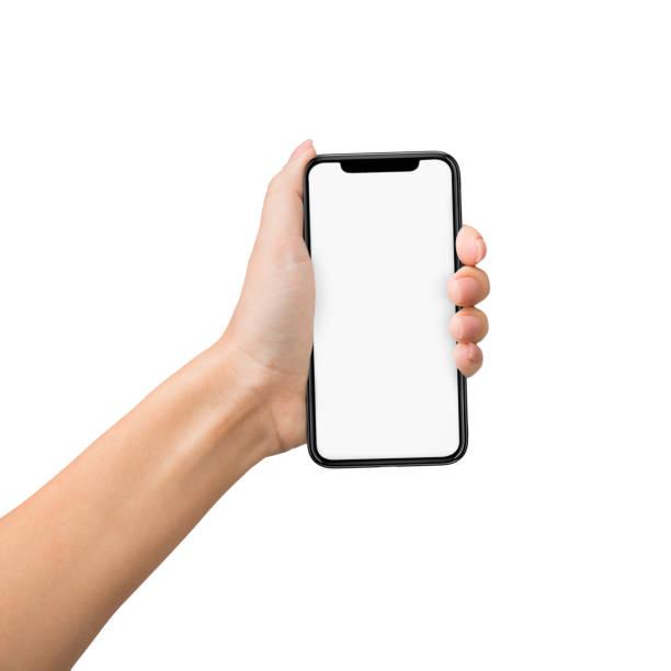 hand grab mobile phone isolated on white background - afferrare foto e immagini stock