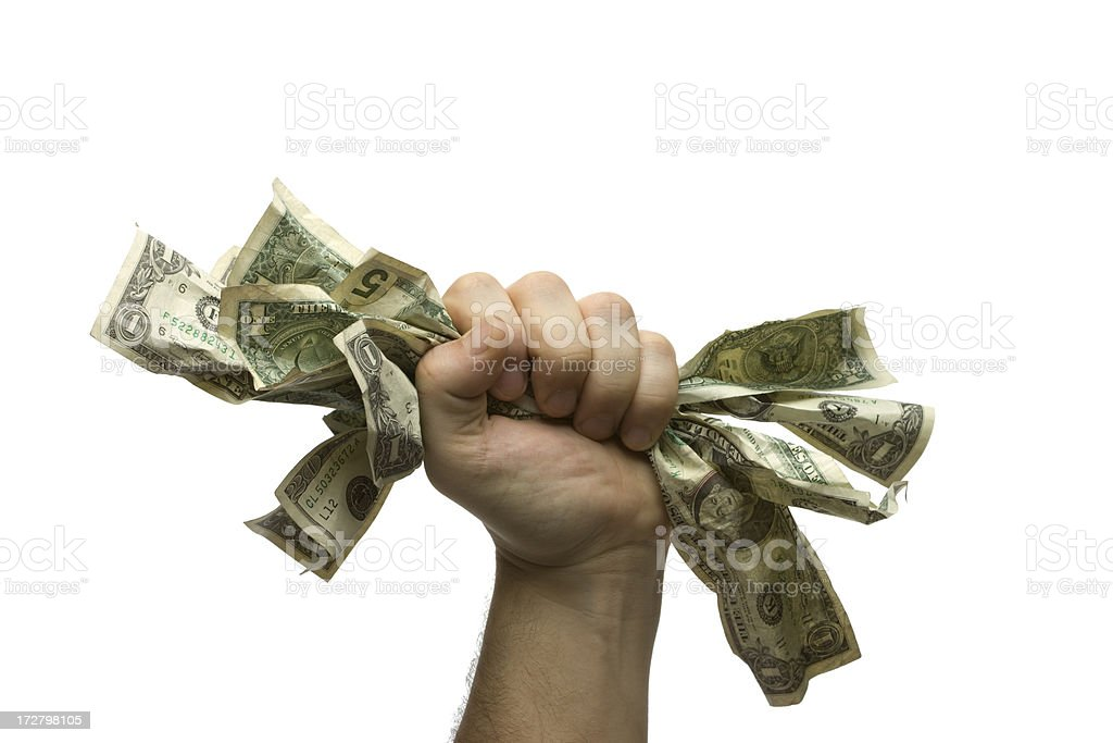 Hand Grabbing Cash royalty-free stock photo