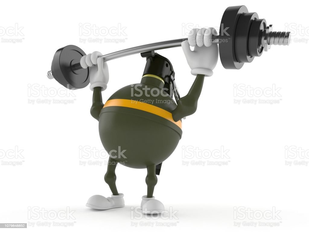 Hand Grenade Character Lifting Heavy Barbell Stock Photo & More