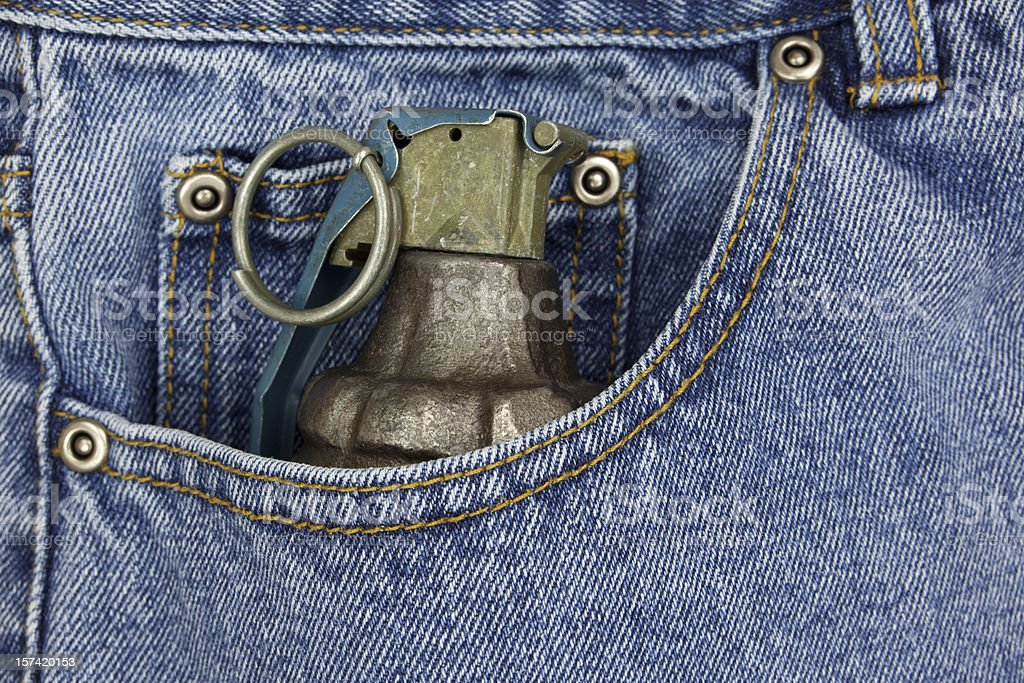 Hand Grenade in Pocket royalty-free stock photo