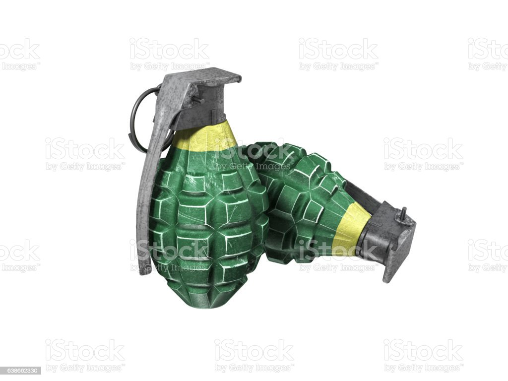 hand grenade on white background stock photo