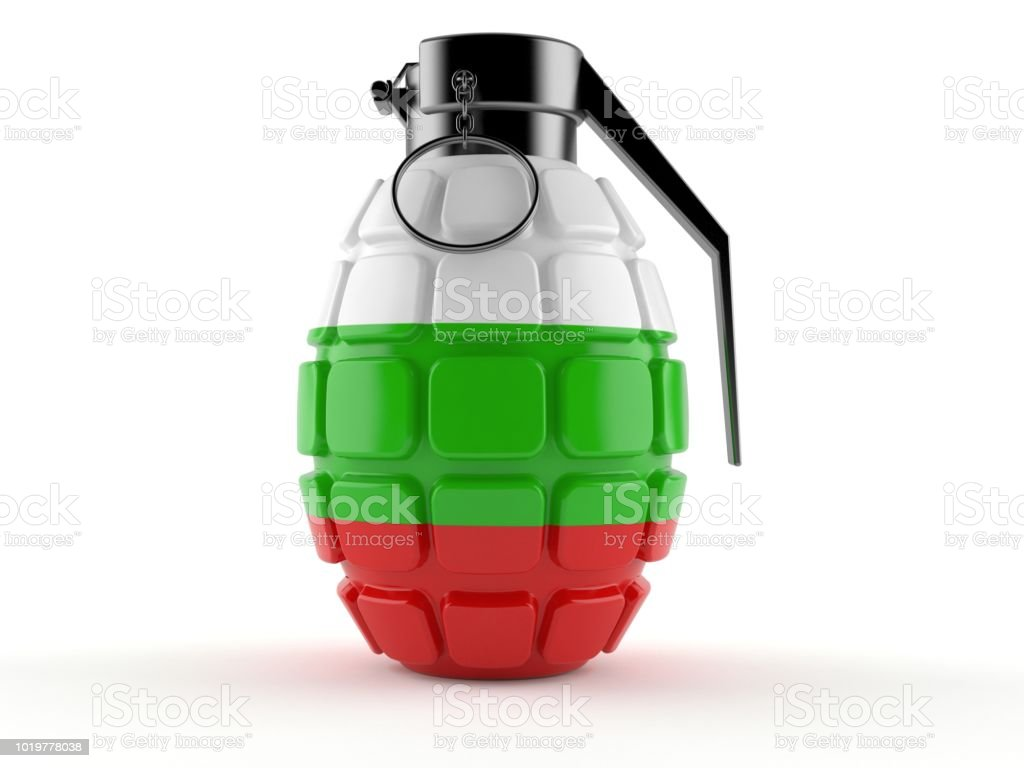 Hand grenade with bulgarian flag stock photo