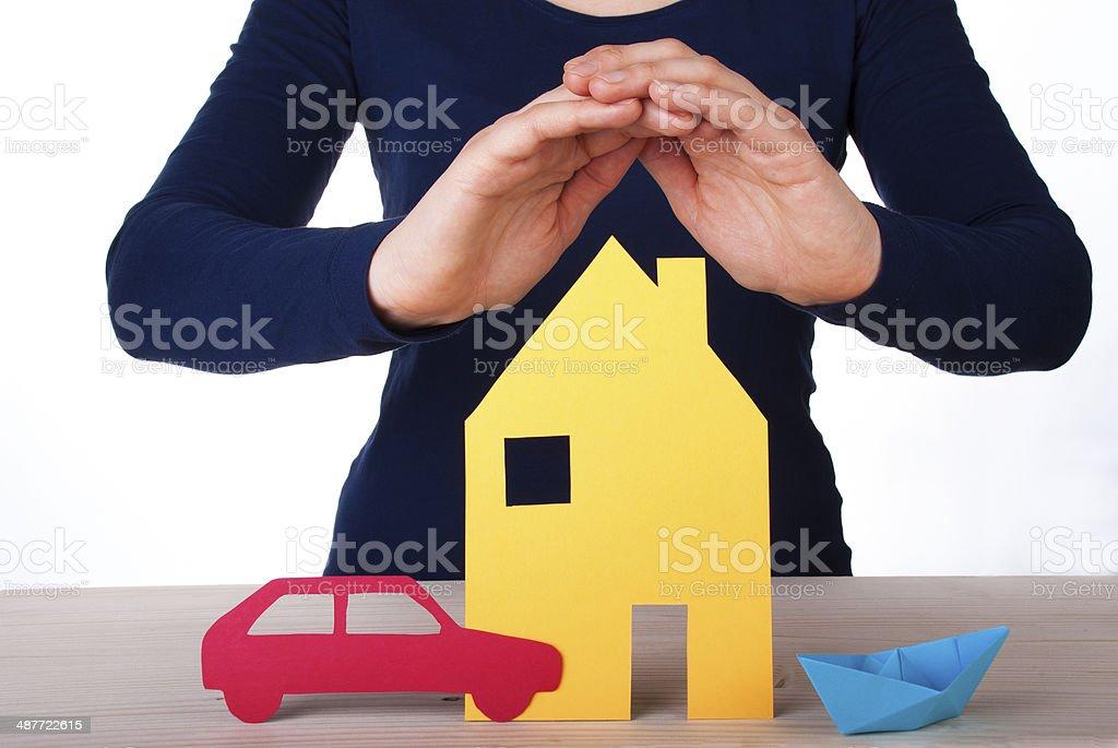 Hand Guarding House, Car, Boat stock photo