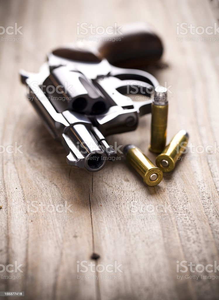 Hand Gun with Bullets stock photo