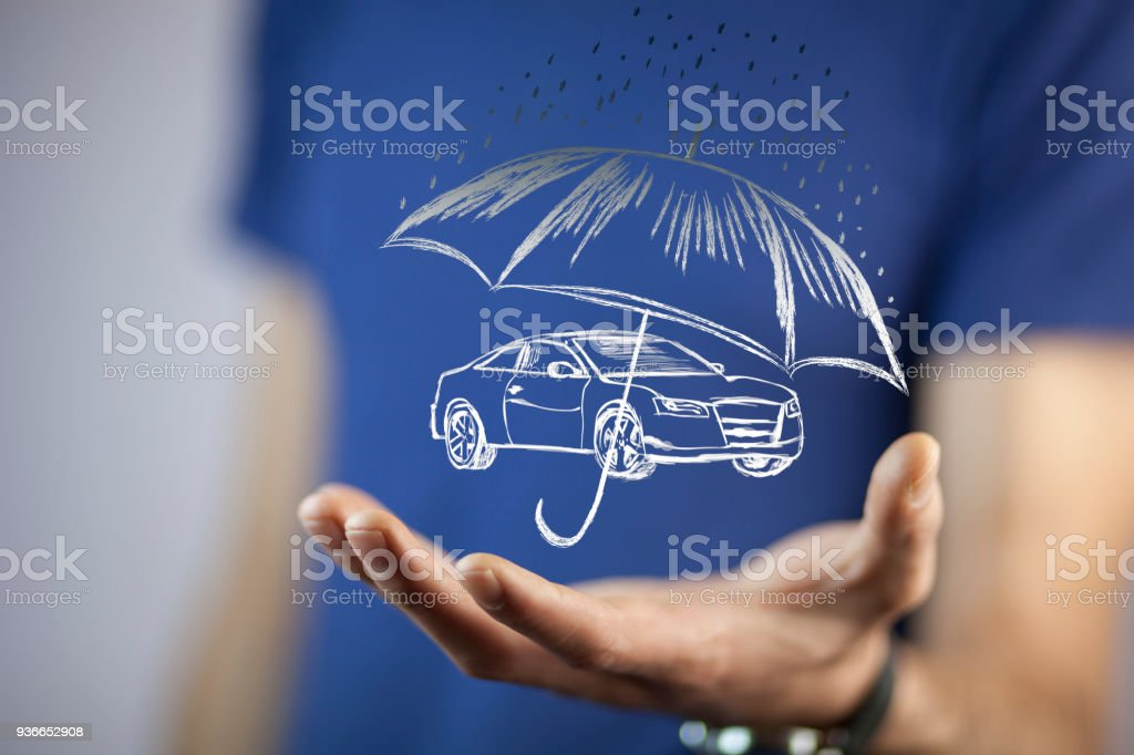 Hand Hand Umbrella Protecting Car Stock Photo Download Image Now