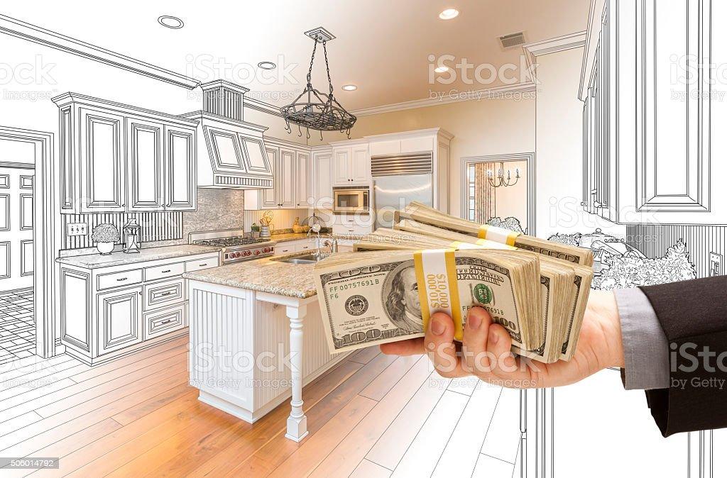 Fotografía de Mano Transferir Dinero A Través De La Cocina De Diseño ...