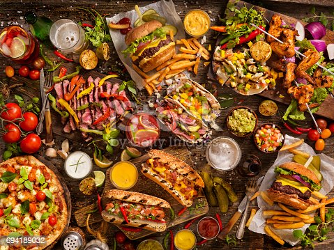 With: Classic Burgers, Hotdogs, Fish and Steak Tacos, Chicken Wings and BBQ Pizza