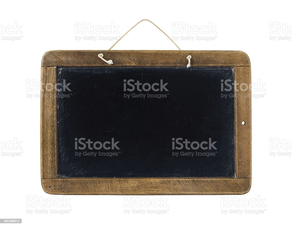 Hand held blackboard set in wooden frame with string on top royalty-free stock photo