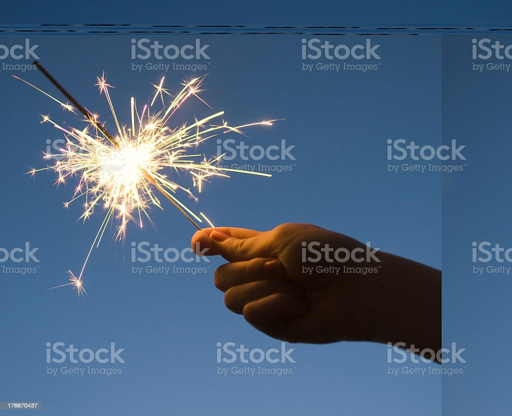 Hand Held Firework Sparkler, Celebration royalty-free stock photo