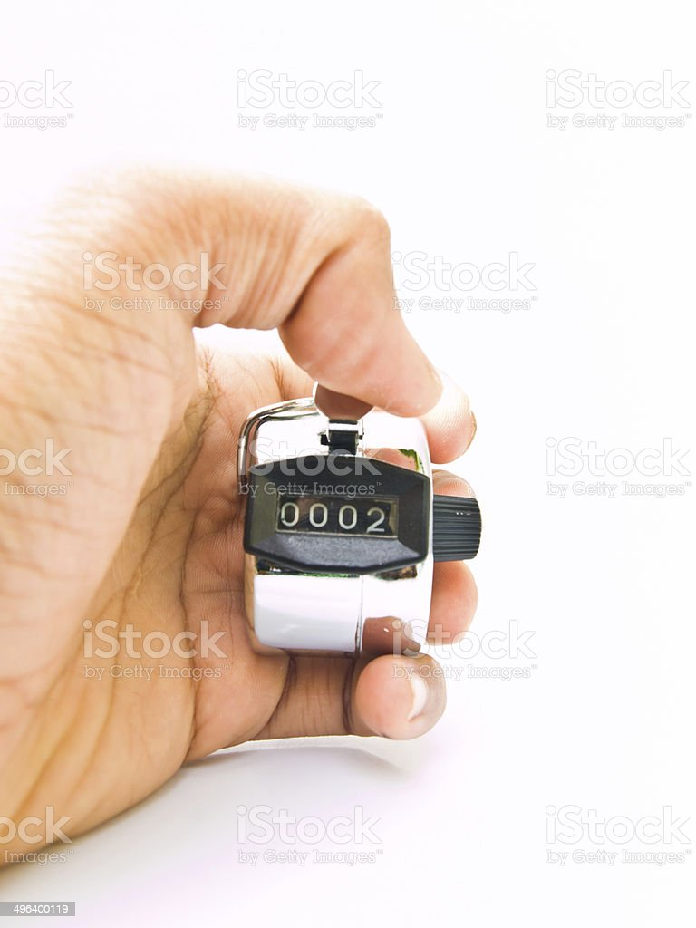 Hand held tally counter isolated on white stock photo