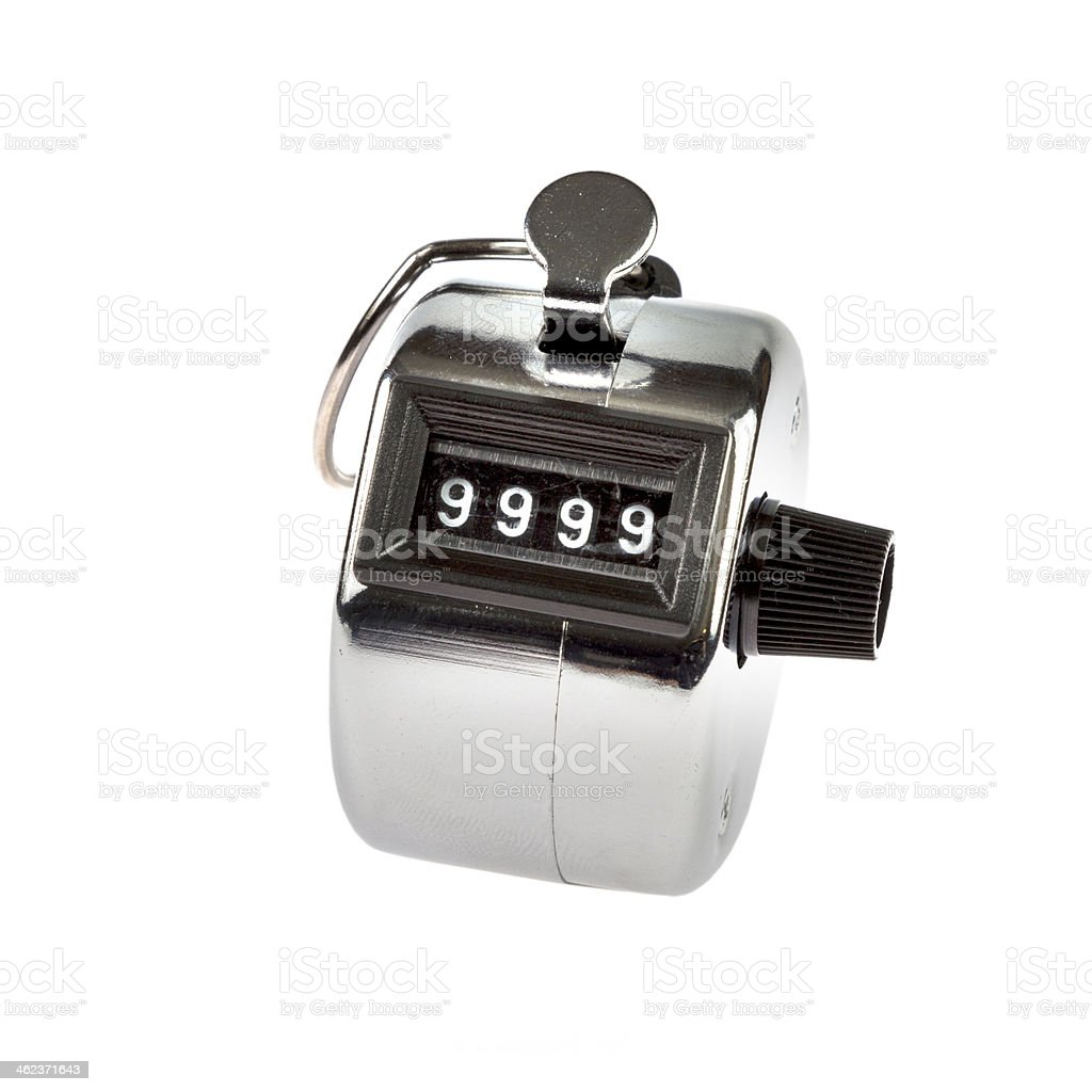 Hand held telly counter 9999 stock photo