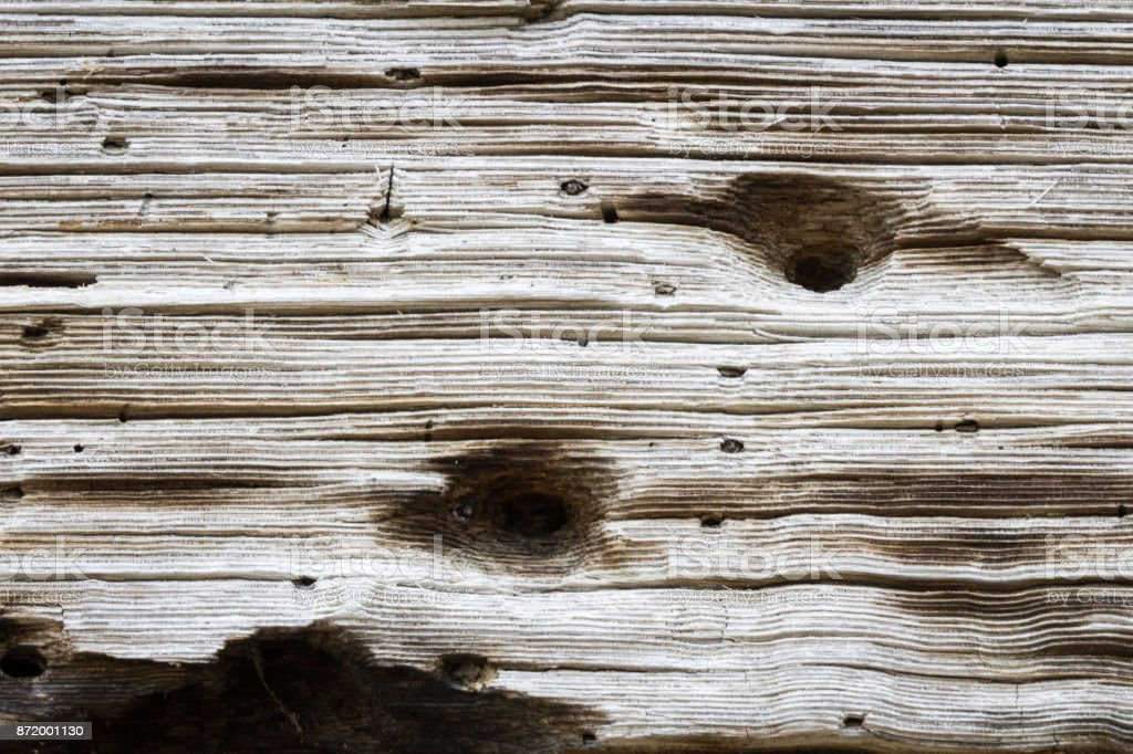 Hand hewn beam with drilled holes and pitted texture stock photo