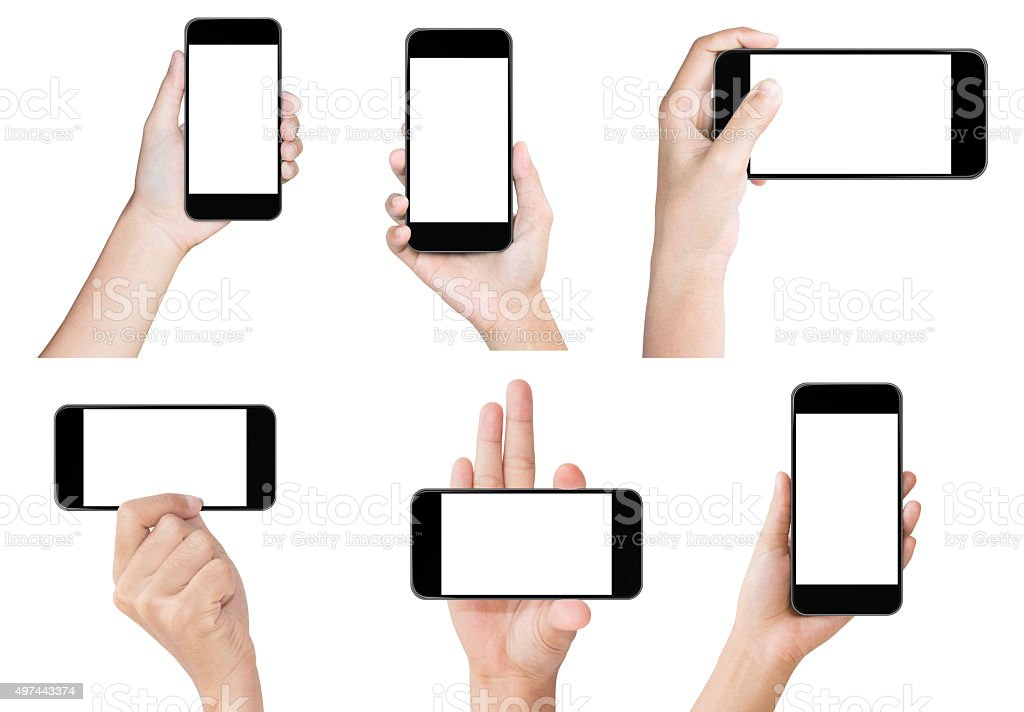 hand hold black modern smart phone show screen display isolated stock photo