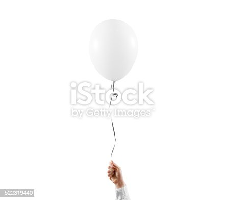 Hand hold blank white balloon mock up isolated. White balloon art design mockup holding in hand. Clear baloon template. Logo, texture, pattern presentation design element.