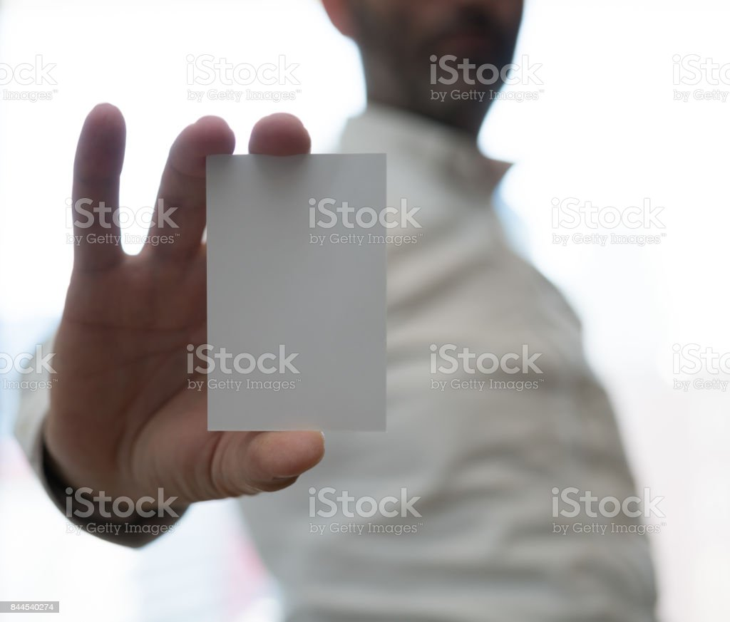 hand hold blank white card mockup plain callcard mock up template