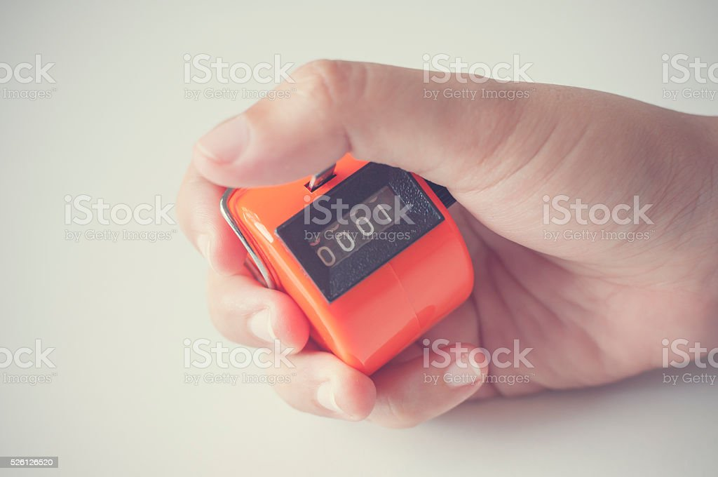 Hand hold counter. stock photo