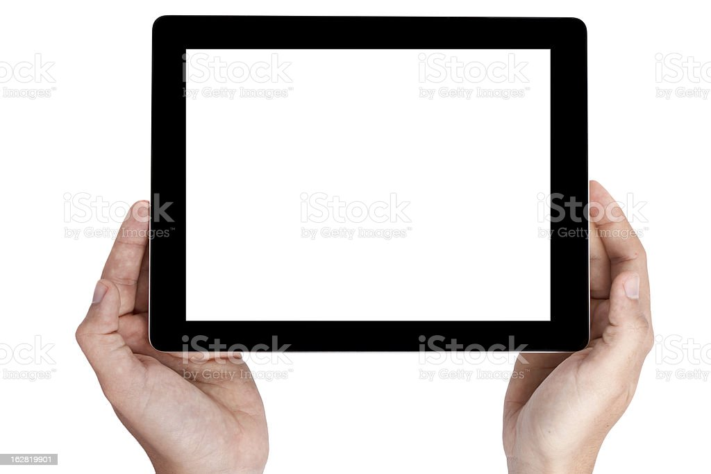 hand hold digital tablet, cut out on white background royalty-free stock photo