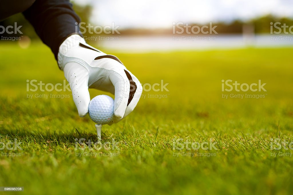 Hand hold golf ball with tee on course, close-up royalty-free stock photo