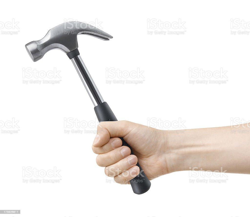 hand hold hammer stock photo