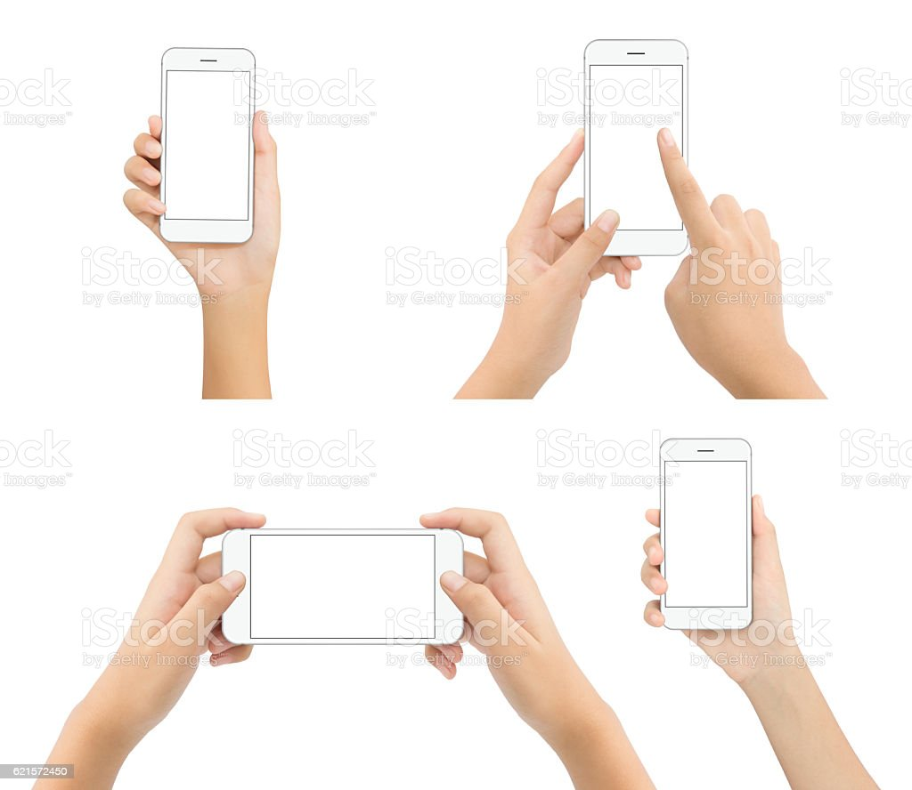 hand hold phone blank screen isolated on white background photo libre de droits