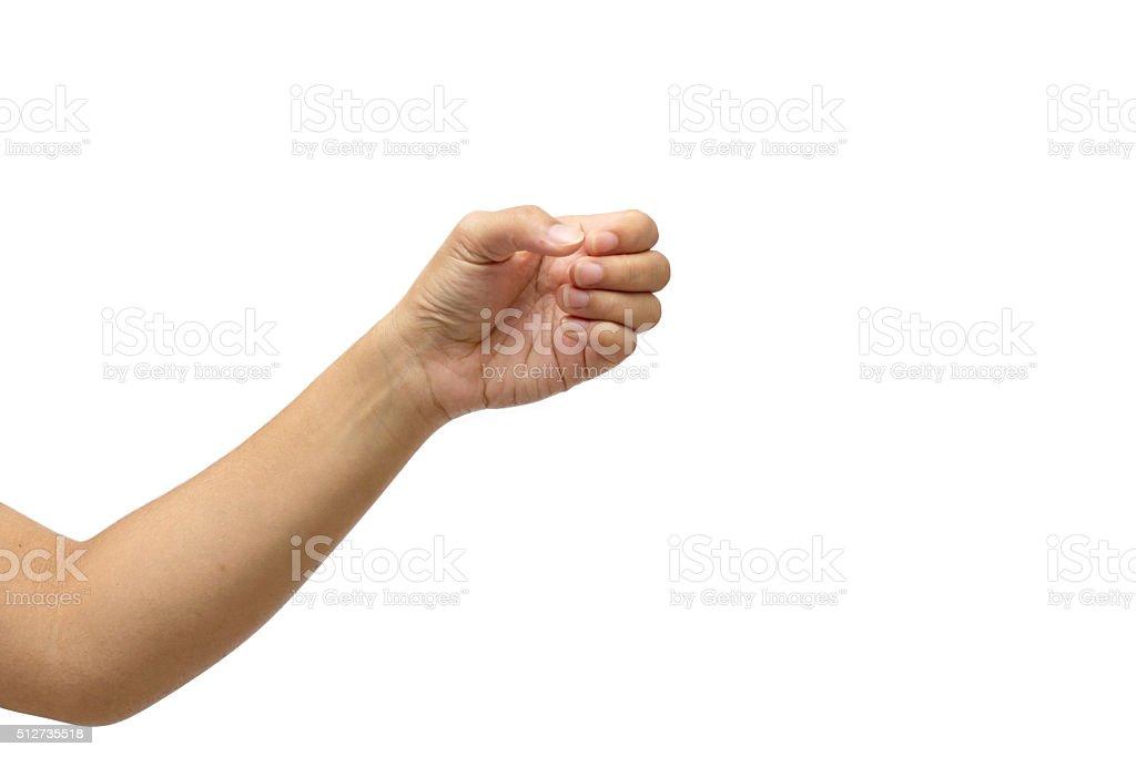 hand hold something isolated on white background stock photo