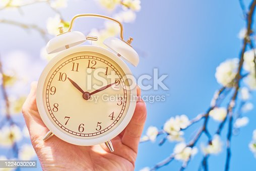 905623256 istock photo Hand hold vintage alarm clock against blue sky and blooming plant. Deadline and change time concept 1224030200