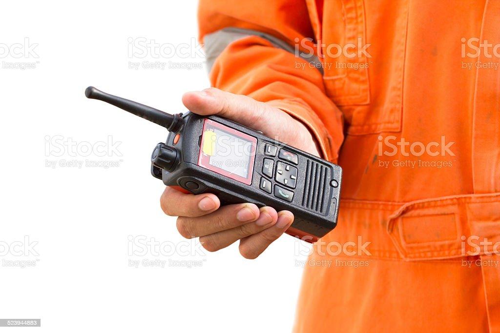 Hand hold walkie talkie white background stock photo