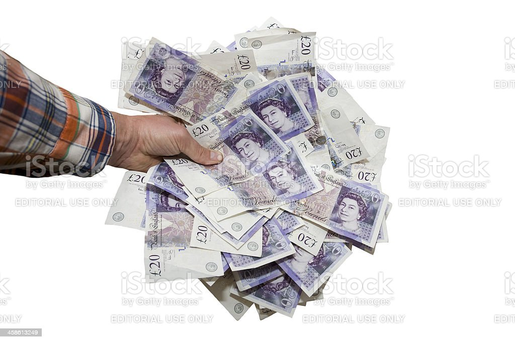 Hand Holding £20 Notes royalty-free stock photo