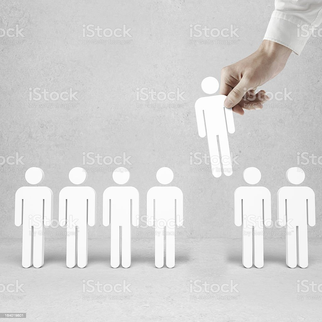hand holding 3d men royalty-free stock photo