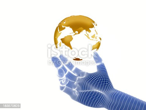836972316 istock photo hand holding a 3D model of the Gold Earth 183570825