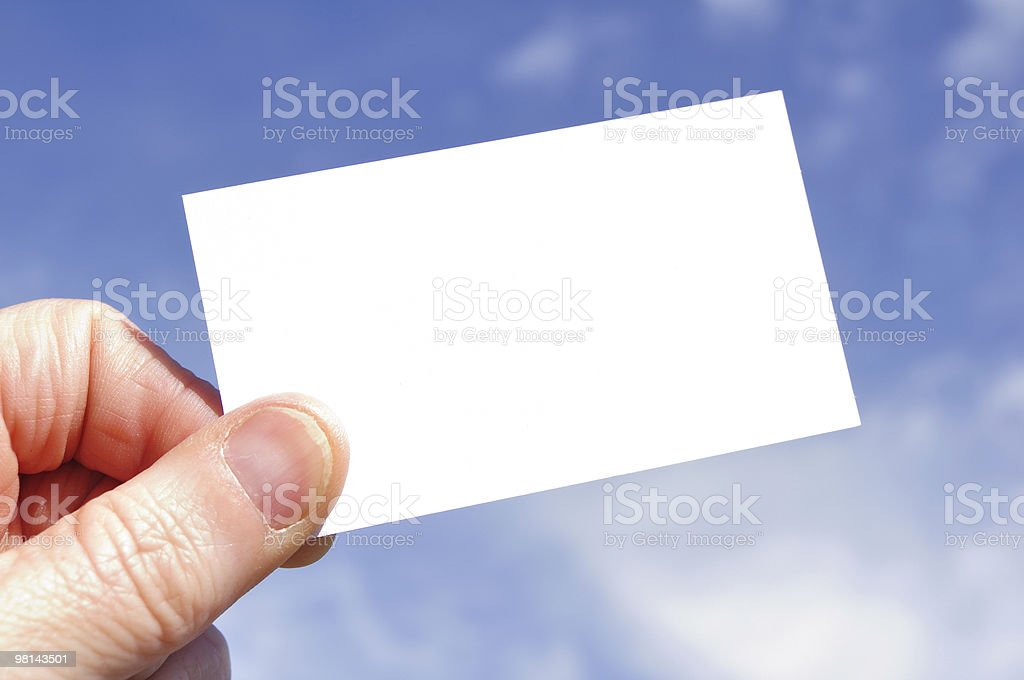Hand Holding a Blank Business Card royalty-free stock photo