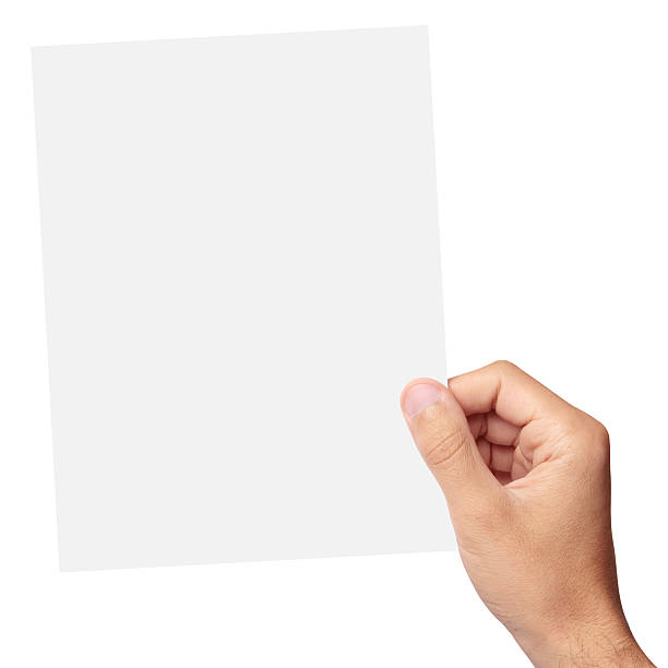 hand holding a blank piece of paper - human hand stock photos and pictures