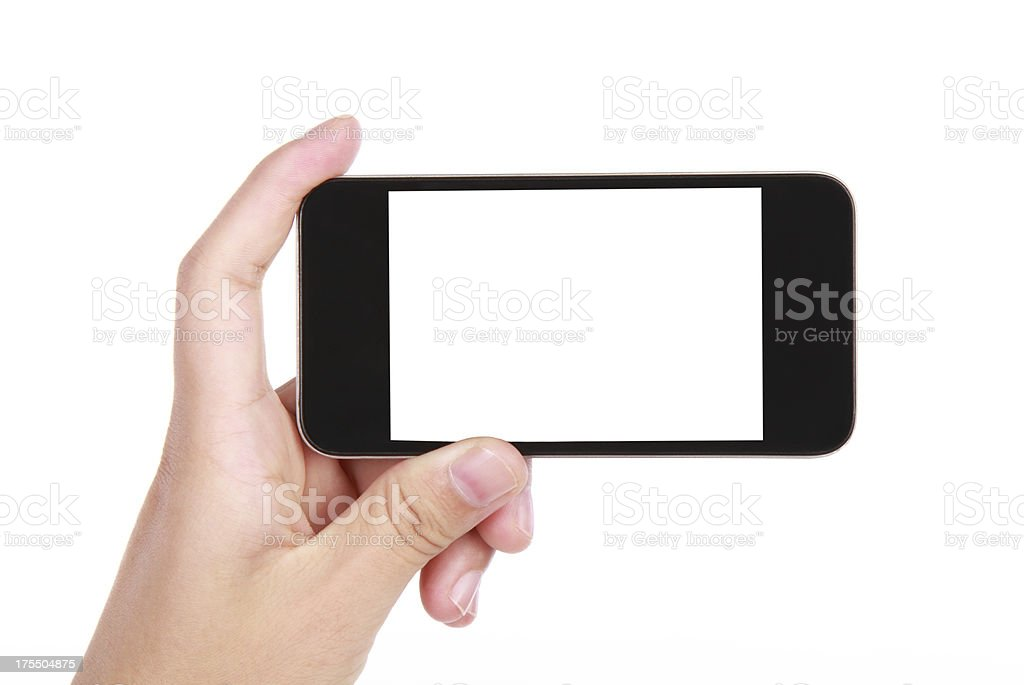 Hand holding a blank smart phone on a white background stock photo