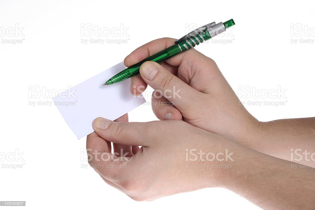 Hand holding a blank white card stock photo
