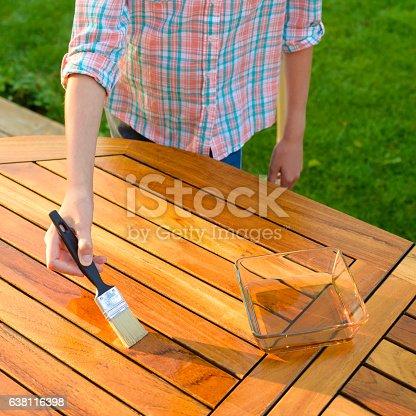 istock hand holding a brush applying varnish on a garden table 638116398