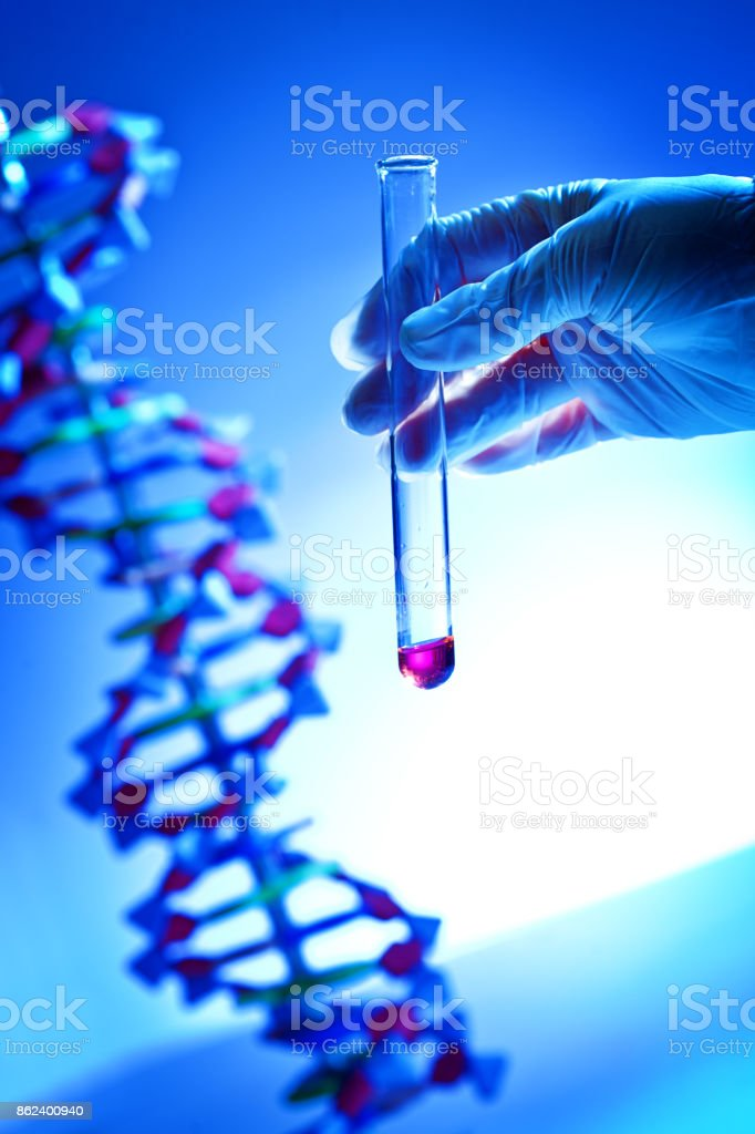 Hand Holding a Chemical Solution Test-tube in a bio-Chemistry DNA Research Laboratory stock photo
