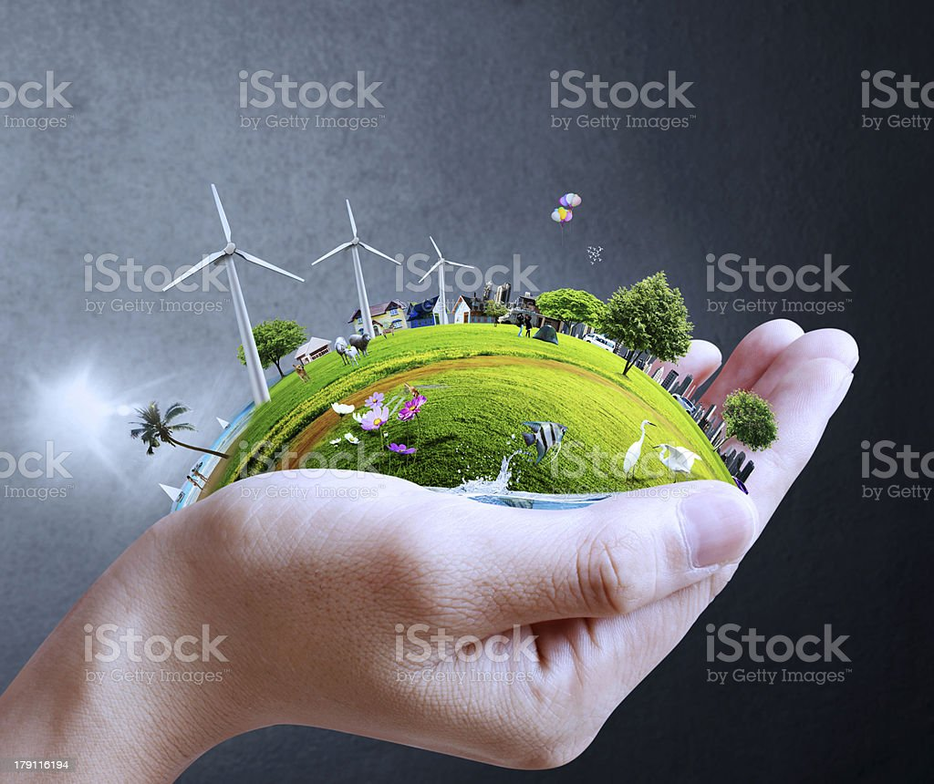 hand holding a city stock photo