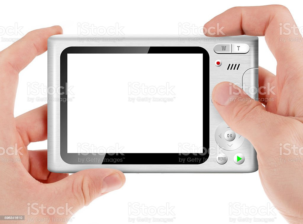 Hand holding a compact digital camera royalty-free stock photo