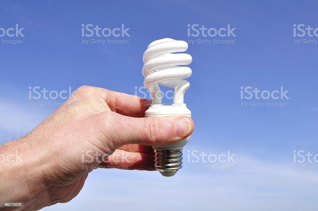 Hand Holding a Compact Fluorescent Light (CFL) royalty-free stock photo