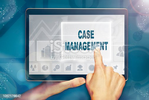 A hand holding a computer tablet and pressing a case management business concept.