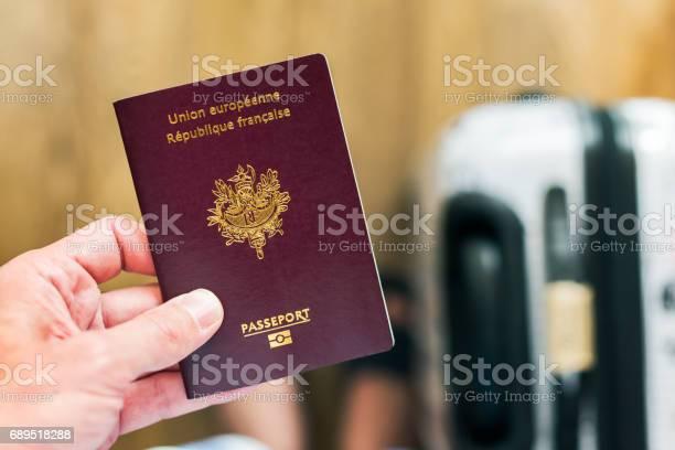 Hand holding a french european passport with luggage in the ba picture id689518288?b=1&k=6&m=689518288&s=612x612&h=zwxif8ro gtdepbmfjwhqwgib5jsahrmrsyvjbvqkdu=