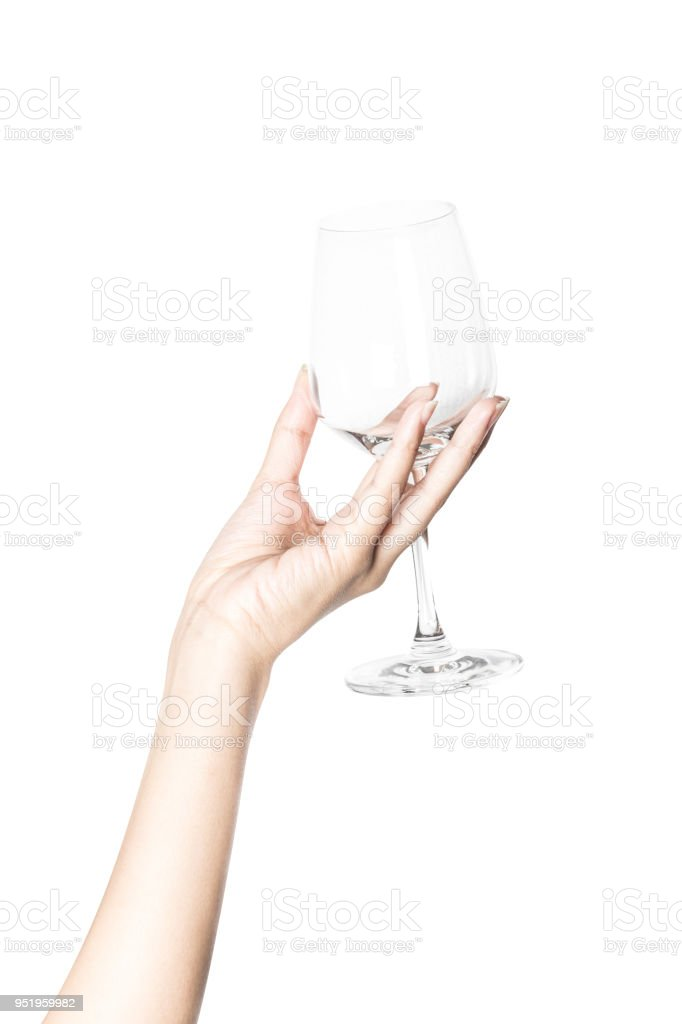 hand holding a glass of wine isolated on white stock photo