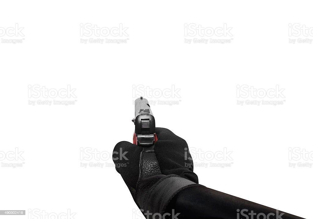 Hand holding a handgun point view. stock photo