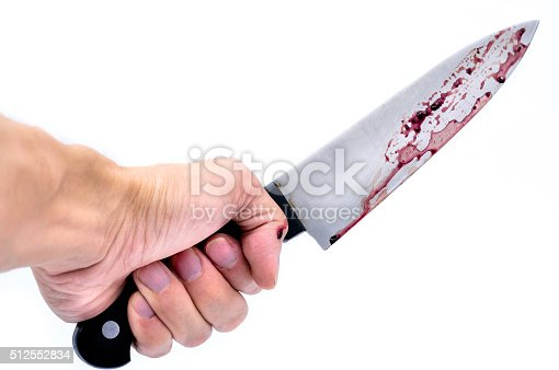 Close up of Hand holding a knife with Dripping blood on a white background, Horror concept