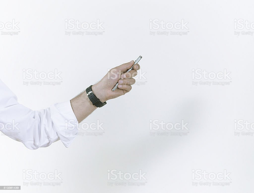 Hand holding a laser pointer stock photo
