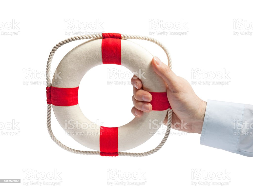Hand holding a lifebuoy isolated on white with clipping path royalty-free stock photo