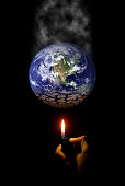 Human activity is one & the main influence of global warming. Human beings consume fossil fuel, warming up Earth & causing dryness. All works're individual. The Globe is provided by NASA.