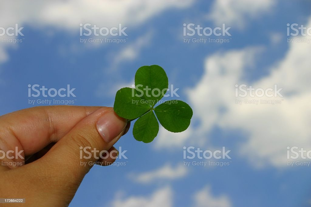 Hand holding a lucky four leaf clover up to the sky stock photo